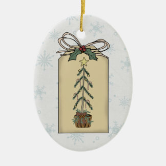 Decorated Holiday Tree Gift Tag Ornament