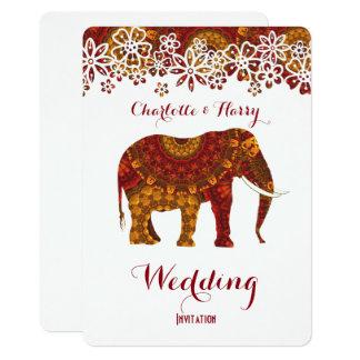 Decorated Indian Ornate Elephant Design Card