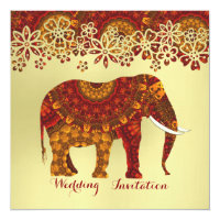 Decorated Indian Ornate Elephant Design Invitation