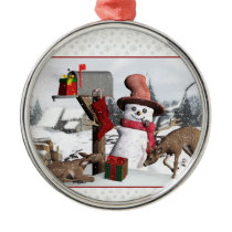 Decorated Mailbox Snowman Deer Silver Ornament