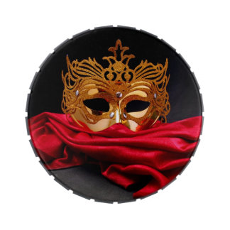 Decorated mask for masquerade on red velvet jelly belly tins