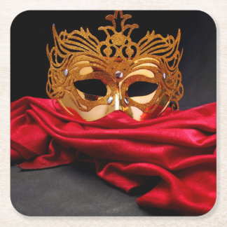 Decorated mask for masquerade on red velvet square paper coaster