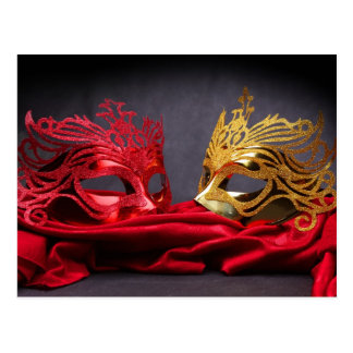 Decorated masquerade mask on red velvet postcard
