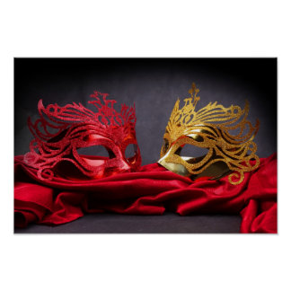 Decorated masquerade mask on red velvet poster