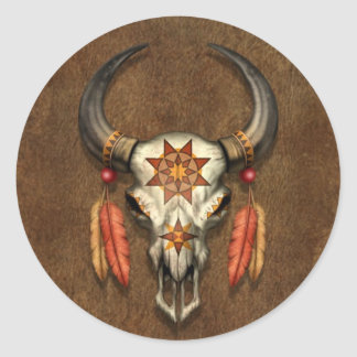 Decorated Native Bull Skull with Feathers Classic Round Sticker