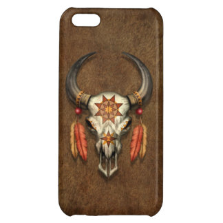 Decorated Native Bull Skull with Feathers Cover For iPhone 5C