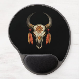 Decorated Native Bull Skull with Feathers on Black Gel Mouse Pad