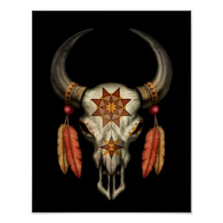 Decorated Native Bull Skull with Feathers on Black Poster