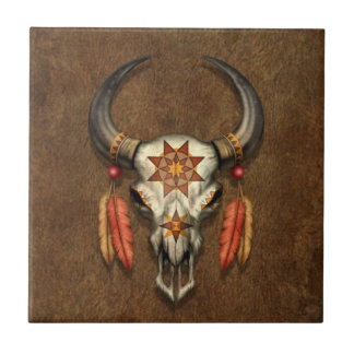 Decorated Native Bull Skull with Feathers Ceramic Tiles
