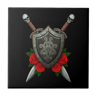 Decorated Octopus Shield and Swords with Roses Tiles