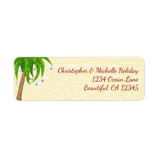 Decorated Palm Tree Christmas Beach Address Label