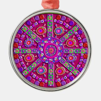 Decorated Pink Mandala Metal Ornament