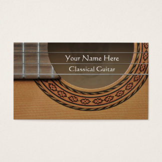 Decorated rosette of a classical guitar business card