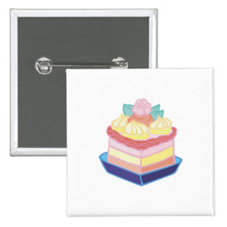 decorated slice of cake 2 inch square button