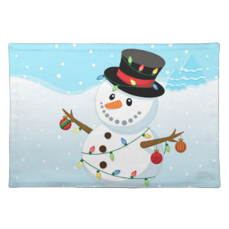 Decorated Snowman Holiday Placemat Cloth Placemat