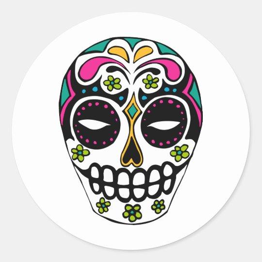 Decorated Sugar Skull Classic Round Sticker