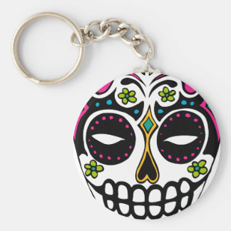 Decorated Sugar Skull Keychain