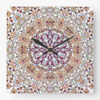 Decorated Tazhib of the Persian art, sends it Pers Square Wall Clock