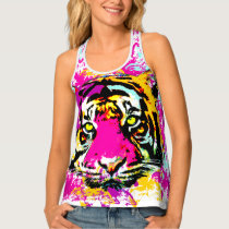 Decorated tiger splatter tank top