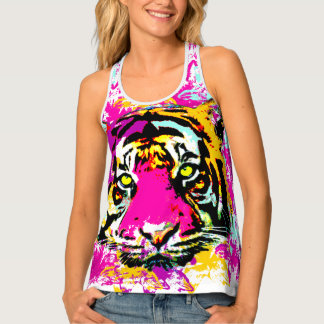 Decorated tiger splatter tank top
