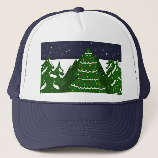Decorated  Tree Shines on a Winter Night Trucker Hat