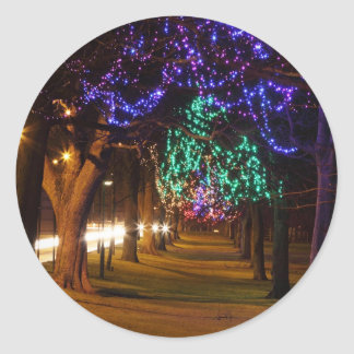 Decorated Trees Classic Round Sticker