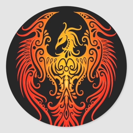 Decorated Tribal Phoenix Classic Round Sticker