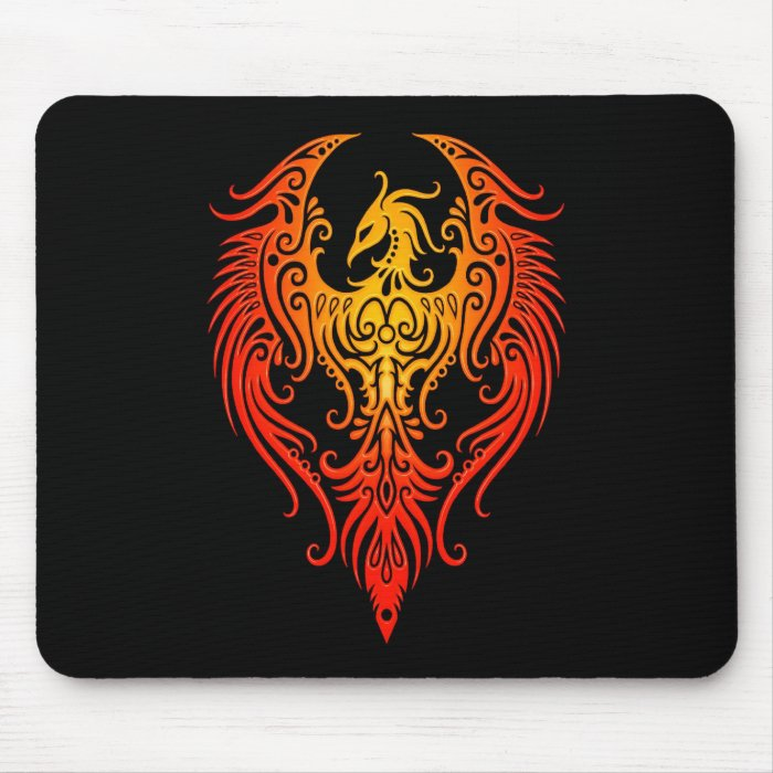 Decorated Tribal Phoenix Mouse Pad