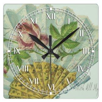 Decorated Valentine Fan Square Wall Clock