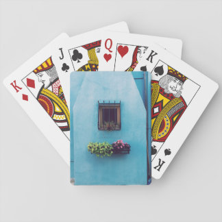 Decorated window of a wall poker cards
