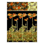 Decoratifs (flores anaranjadas) por Alfonso Mucha  Poster