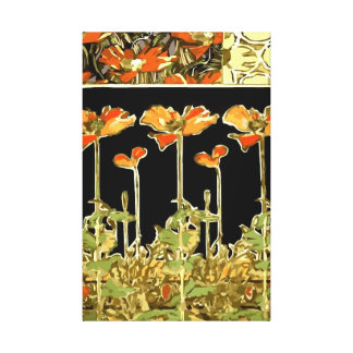 Decoratifs (Orange Flowers) by Alphonse Mucha  Vec Canvas Print