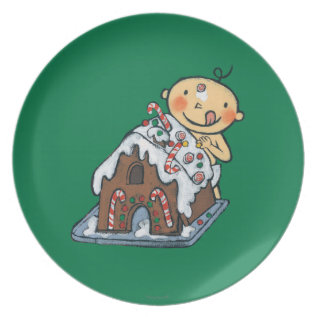 Decorating A Gingerbread House For Christmas Melamine Plate at Zazzle