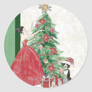 Decorating Christmas Tree with Dog Classic Round Sticker