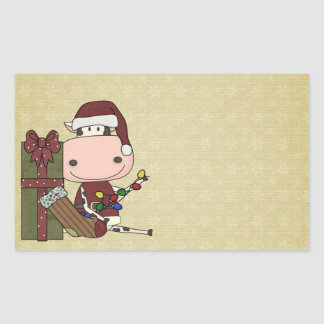Decorating for Christmas - Cow Rectangular Sticker
