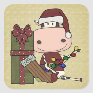 Decorating for Christmas - Cow Square Sticker