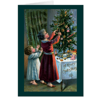 Decorating the Tabletop Tree Greeting Card