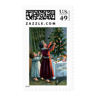 Decorating the Tabletop Tree Postage Stamp