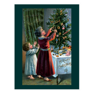 Decorating the Tabletop Tree Postcard