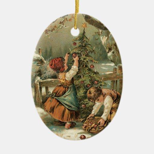 Decorating the Tree Ceramic Ornament