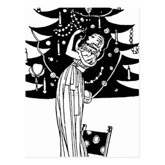 Decorating the Tree in Black and White Postcard