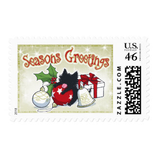 Decorations and Black Cat (Season's Greetings) Postage Stamps
