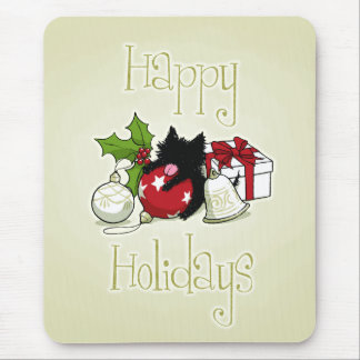 Decorations and Black Kitten (Happy Holidays) Mouse Pad