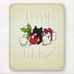 Decorations and Black Kitten (Happy Holidays) Mousepad