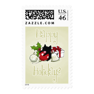 Decorations and Black Kitten (Happy Holidays) Stamps