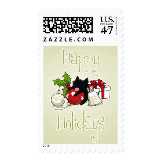 Decorations and Black Kitten (Happy Holidays) Postage Stamp