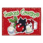Decorations and Black Kitten (Season's Greetings) Greeting Card