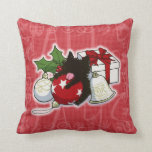 Decorations and Black Kitten Throw Pillows