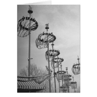 Decorations on poles B&W high section Card