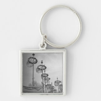 Decorations on poles B&W high section Keychain